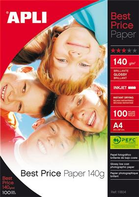 Apli papel best price brillante 140gr A4
