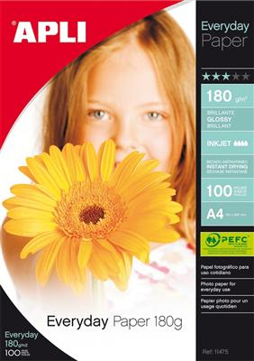 Apli papel everyday brillante 180gr A4